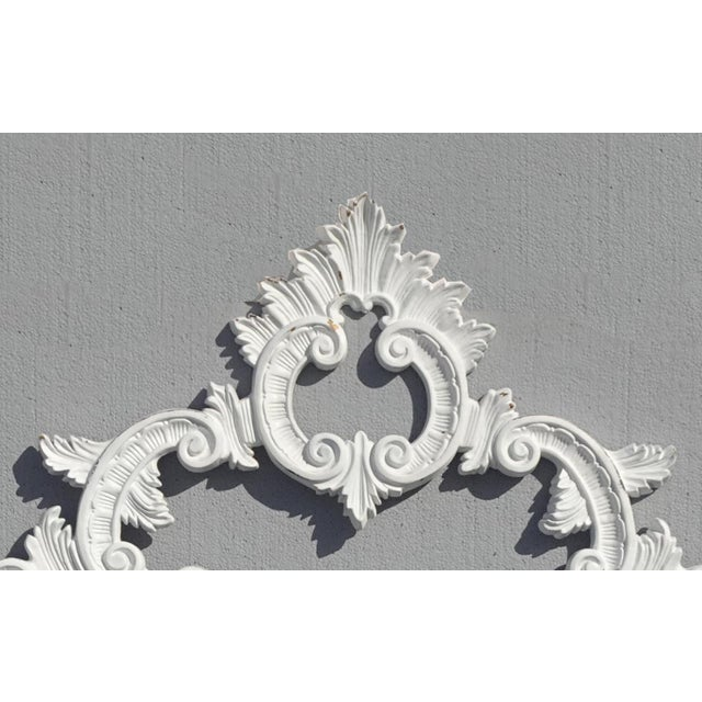 Metal Vintage French Provincial Louis XVI Rococo White Metal King Headboard For Sale - Image 7 of 12