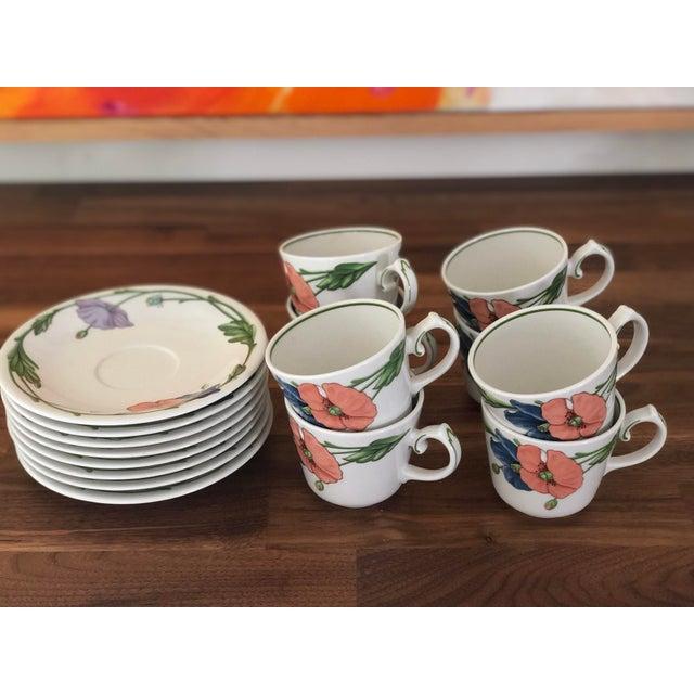 Ceramic 1980s Villeroy & Boch Amapola Cup & Saucers - Set of 8 For Sale - Image 7 of 11