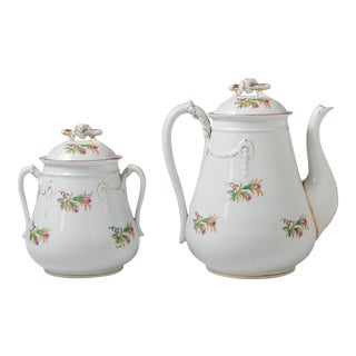 Madcap Cottage French Porcelain Coffee Pot/Lidded Sugar Bowl, S/2 For Sale
