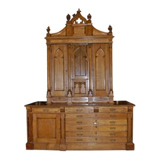 Gothic Carved Oak Vestment Cabinet with Light