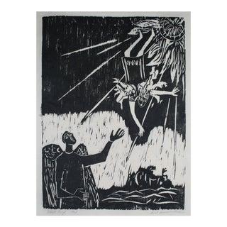 "Carol Cunningham ""Daedalus & Icarus"" Figurative Woodcut Print, 1963 For Sale"
