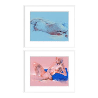 Figure 11 & 12 Diptych by David Orrin Smith in White Frame, Small Art Print For Sale