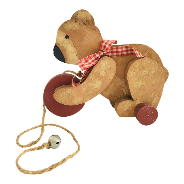 Vintage Primitive Wood Teddy Bear on Rolling Wheels For Sale