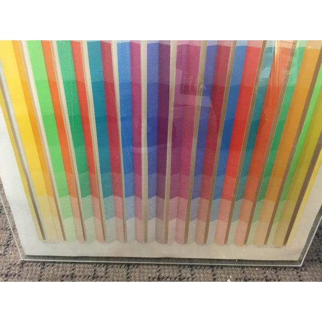 Abstract Anne Youkeles Op Art 1970 Cascade II Signed Lmt Ed Mixed Media For Sale - Image 3 of 10