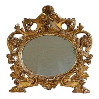 18th C Italian Baroque Gilt Mirror. Mercury Glass. For Sale