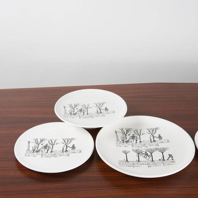 Enzo Bioli Set of 9 Ceramic Plates by Enzo Bioli for Il Picchio For Sale - Image 4 of 7