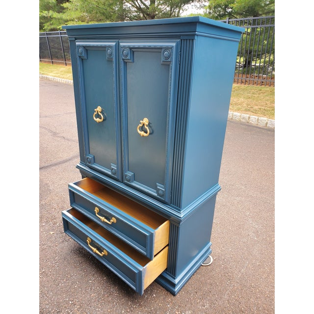 Vintage Moscow Midnight Blue Armoire For Sale - Image 4 of 12