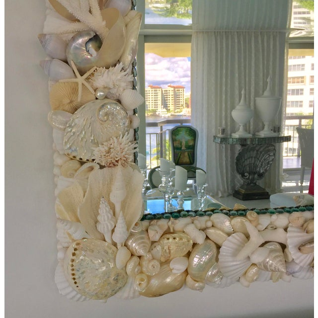 Coral Large Horizontal Seashell & Coral Mirror For Sale - Image 7 of 10