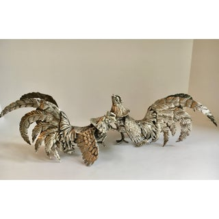 Pair of Silver Plate Cockerals Roosters Bookends Preview