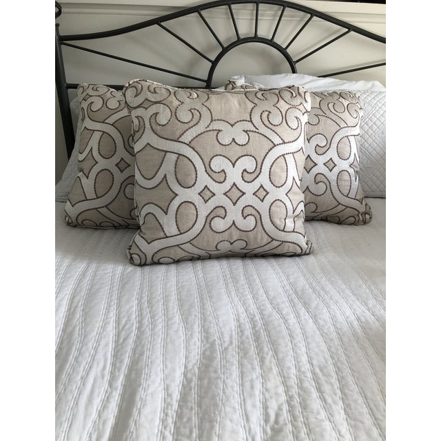 """Scalamandre Damascus Embroidery Square 18"""" Pillows (3 Available) For Sale In Washington DC - Image 6 of 13"""