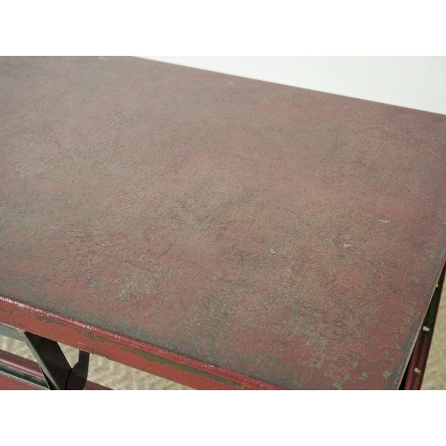 Industrial Vintage Red Enamel Table For Sale - Image 3 of 5