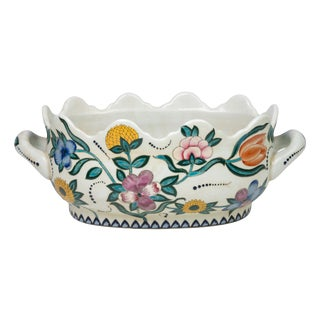 Floral Scalloped Porcelain Handled Foot-bath For Sale