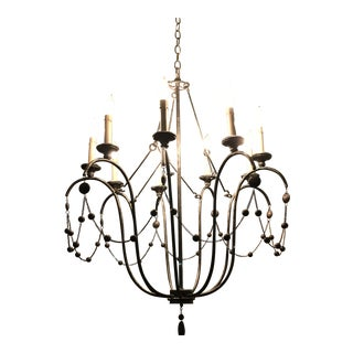 Arteriors Burnished Silver Metal Beaded Chandelier For Sale