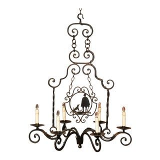 Early 20th Century French Iron Six-Light Chandelier With Shepherd and Dog For Sale