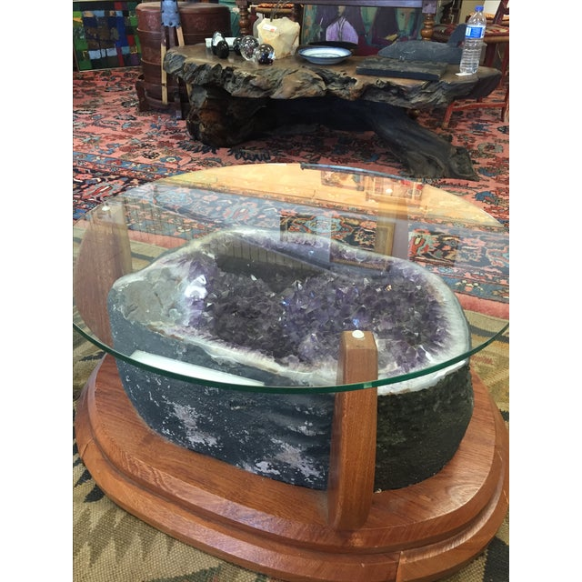 Rustic Amethyst Crystal Geode Coffee Table For Sale - Image 3 of 9