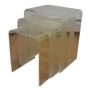 Mid-Century Modern Waterfall Lucite Nesting Tables - Set of 3