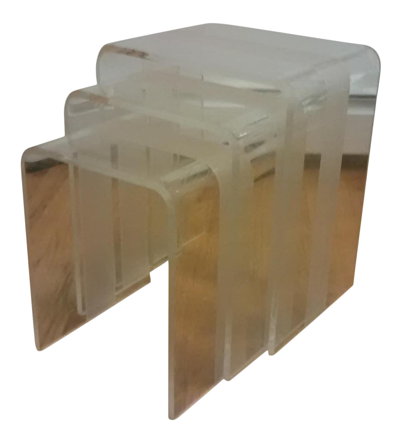 Mid Century Modern Waterfall Lucite Nesting Tables   Set Of 3