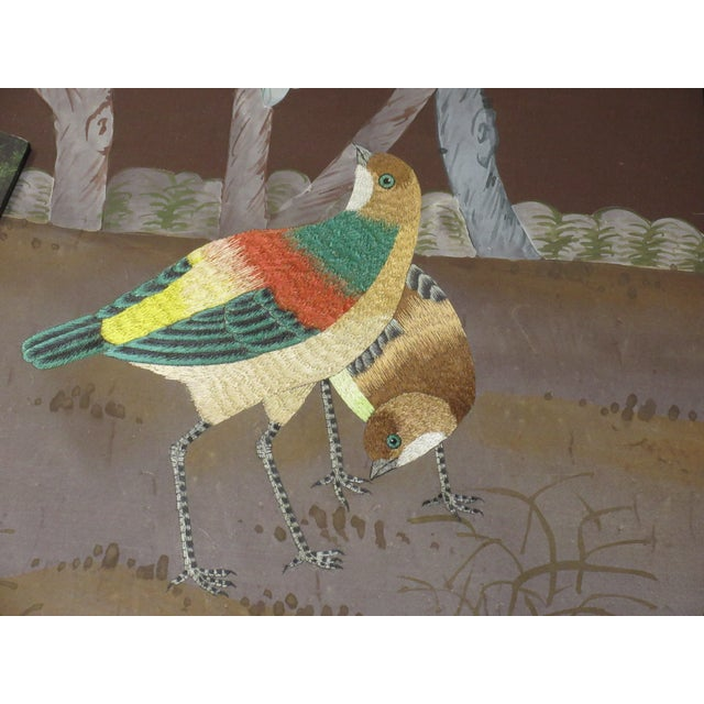 Paper Hand Painted and Embroidered Mural on Paper Backed Silk For Sale - Image 7 of 13