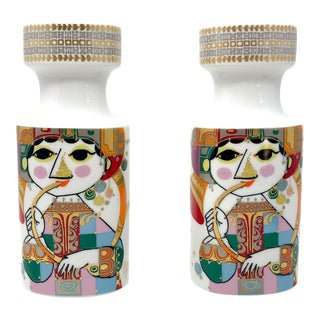 Pair of Large 1001 Nights Candle Holders by Bjorn Wiinblad for Rosenthal For Sale