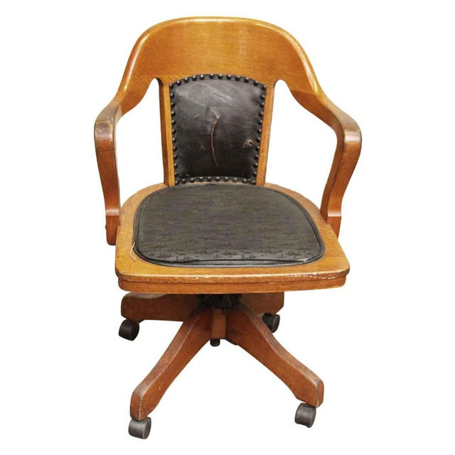 Wooden Rolling Desk Chair With Vinyl For Sale - Image 5 of 9