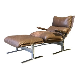 Mid Century Ingmar Relling Style Lounge Chair & Ottoman For Sale
