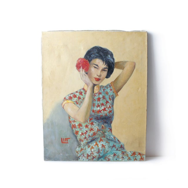 Beautiful original portrait painting of a Japanese woman by American artist Walter Litt, circa early 1960s. Oil on canvas,...