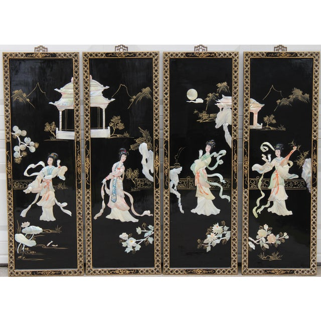 Asian Wall Panels Depicting Chinese Performers or Geishas For Sale - Image 12 of 13