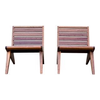 Modern Studio Crafted Solid Exotic Wood Z Lounge Chairs- a Pair For Sale