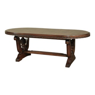 Italian Neoclassic Oval Walnut Dining Table For Sale