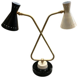 1950s Italian Mid-Century Double Arms in Brass Table Lamp For Sale