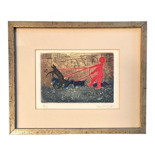 Vintage Original Lithograph Red Figure With Dogs For Sale