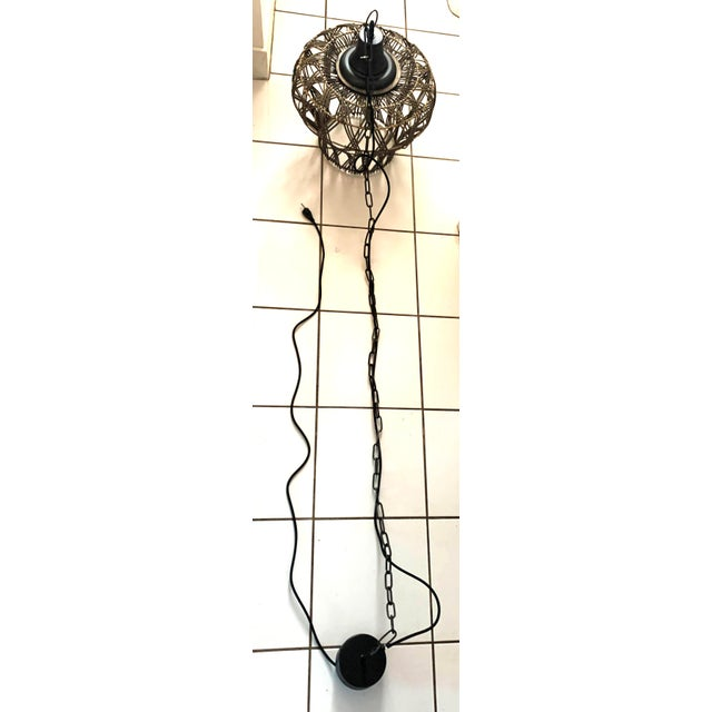 Large Dusty Grey Green Rattan Bell Pendant Light by Kalalou For Sale In Denver - Image 6 of 13