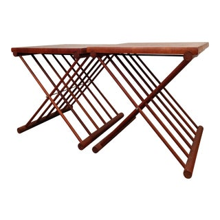 Ernest Sohn Staved Teak Folding Tables, a Pair For Sale