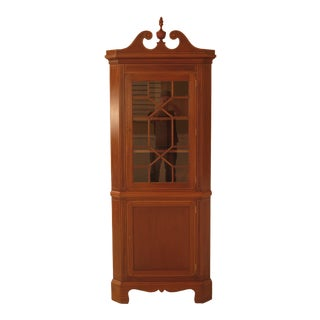 Biggs Federal Style Inlaid Mahogany Corner China Cabinet For Sale