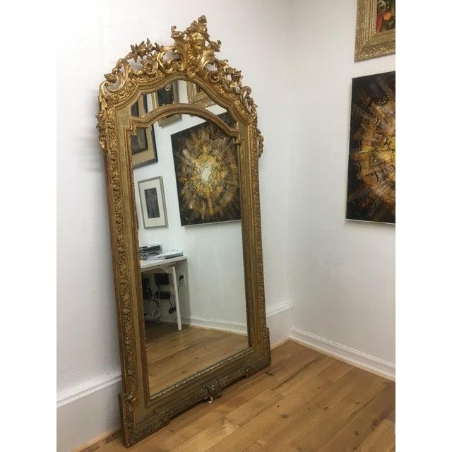 Art Nouveau Gilt Framed Arched Floor Mirror For Sale - Image 3 of 11