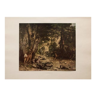Roe Deer in a Forest, Vintage Gustave Courbet Lithograph For Sale