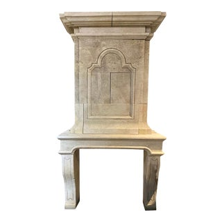 Hand Carved Limestone Mantel with Trumeau For Sale