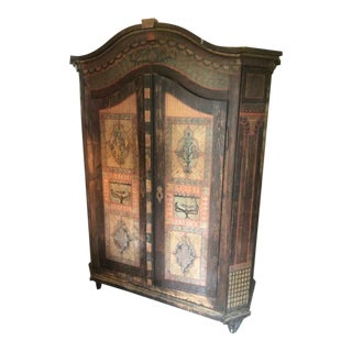 1800s Antique European 2 Door Hand Painted Armoire For Sale