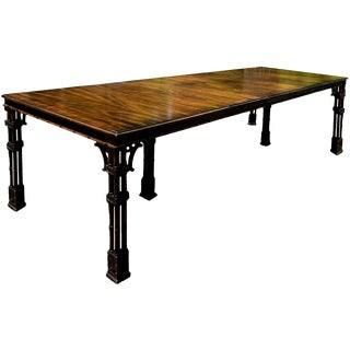 Hollywood Regency Faux Bamboo Mahogany Dining Table by Wellington Hall For Sale