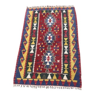 Handmade Wool Turkish Kilim Rug - 3′11″ × 5′10″ For Sale