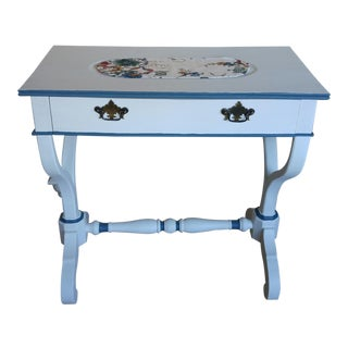 Vintage White Console Table With Blue Trim For Sale