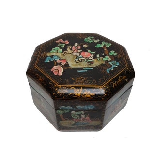 Chinese Black Lacquered & Painted Paper Decor Box For Sale