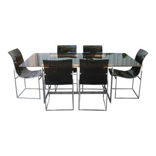 Milo Baughman Style Chrome Dining Set For Sale
