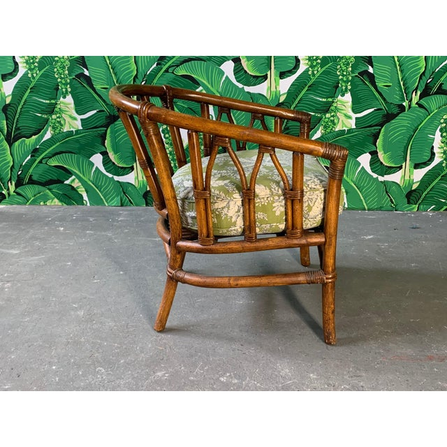 McGuire Pair of Bamboo Club Chairs in the Style of McGuire For Sale - Image 4 of 12