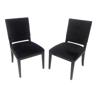 Modern Black Chenille Dining Chairs - a Pair For Sale