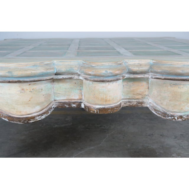 Monumental Square Scalloped French Painted Coffee Table For Sale In Los Angeles - Image 6 of 11