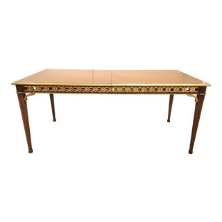 Transitional French Style Mahogany Finished Carved Wood Dining Table For Sale
