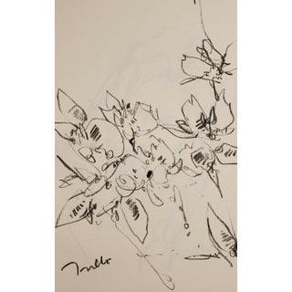 Flowers Original Charcoal Paper Sketch Drawing by Jose Trujillo For Sale