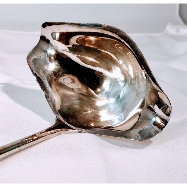 Vintage International Silver double pour ladle with gorgeous grape design on the handle. Simply beautiful in a graceful...