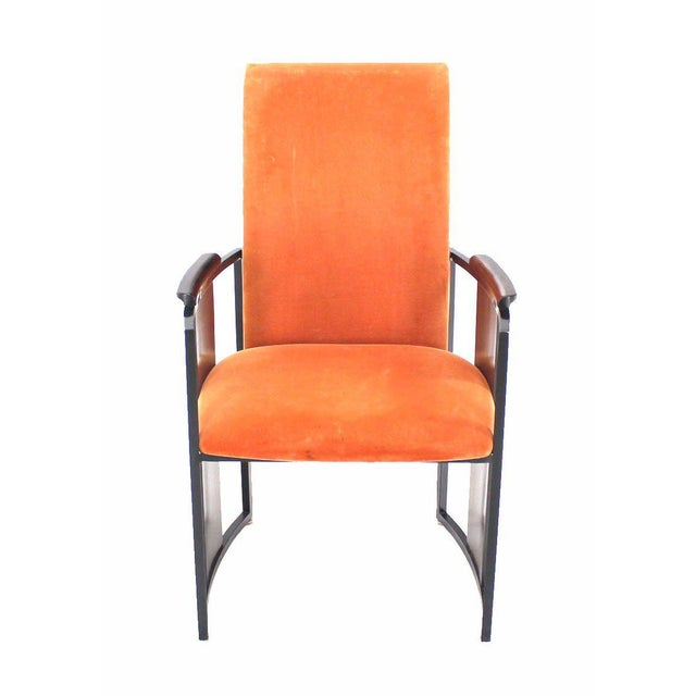 Mid-Century Modern Mid-Century Modern Metal and Rosewood Frame Dining Chairs - Set of 6 For Sale - Image 3 of 11
